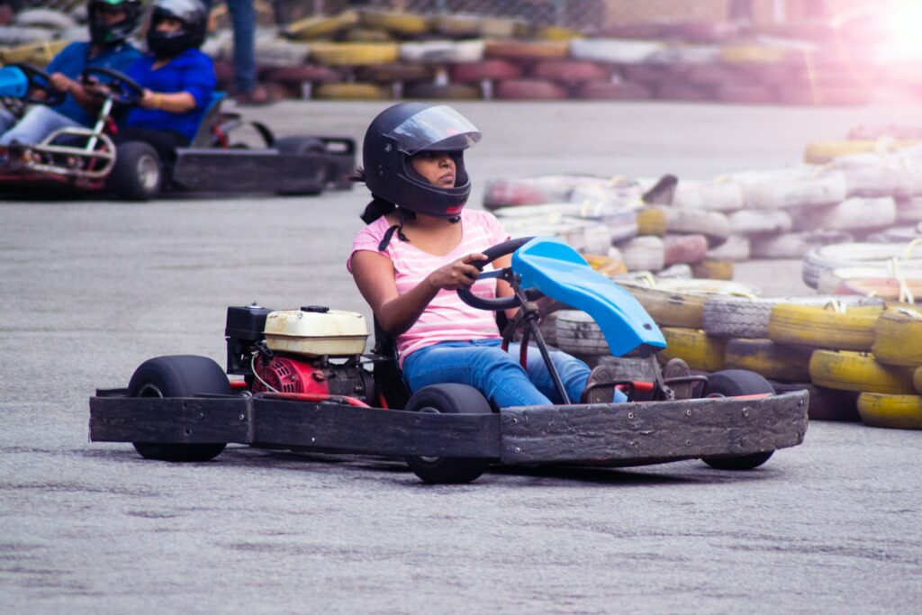 Go Karting Woman on Valentine's Day Date