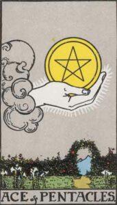 Ace of Pentacles Rider-Waite Tarot Card