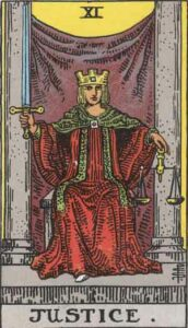 Justice Rider-Waite Tarot Card