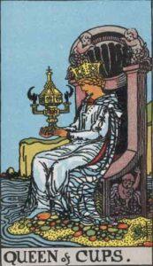 Queen of Cups Rider-Waite Tarot Card