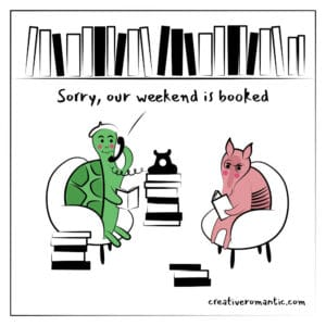Turtle and Armadillo Booked for the Weekend Reading Together Comic
